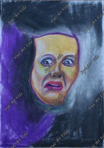 Scream of Fear - pastel study - original signed pastel study - style-art-villa