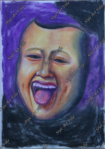 Mask - Laughing face - original signed pastel study - style-art-villa
