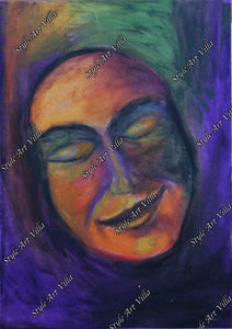 Pastel study of a peaceful face with smile