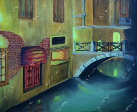 Romantic canal city Venice by night - Original signed oil painting - style-art-villa