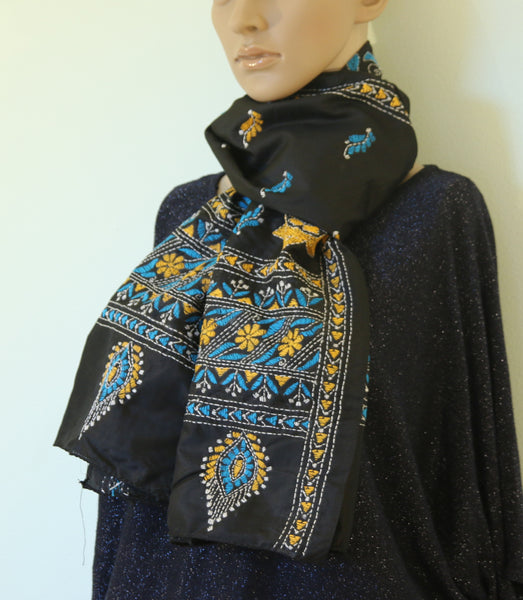 Pure silk scarf with kantha stitch - Pure silk hand kantha stitch stole - style-art-villa