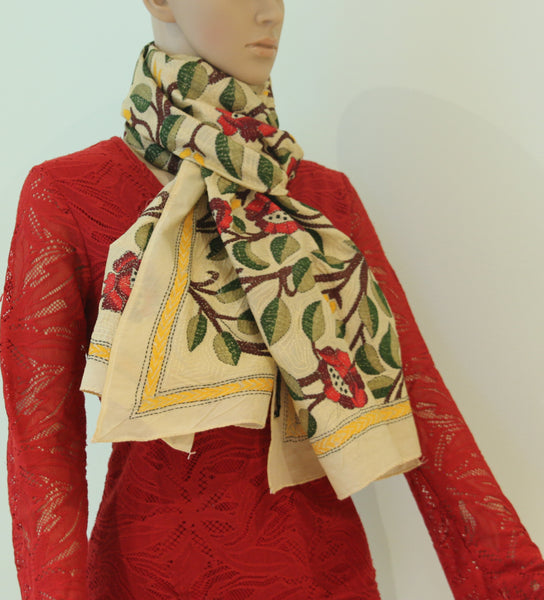 Pure Tussar silk scarf with kantha stitch - Style Art Villa