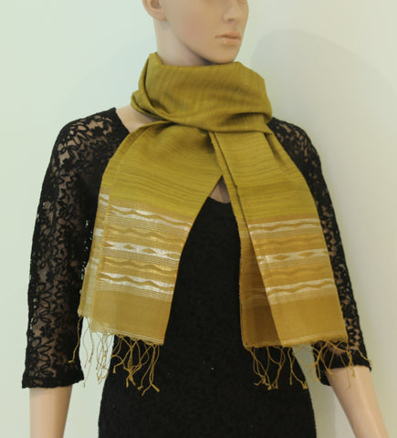 Pure Tussar silk scarf with zari - Pure tussar silk with zari stole - style-art-villa