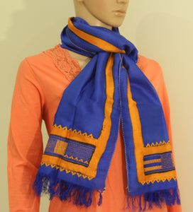 Pure Silk hand printed and kantha stitch scarf - Style Art Villa