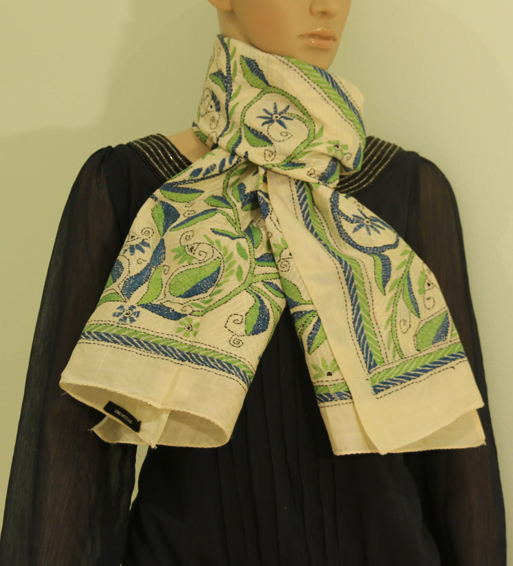 Pure Tussar silk scarves with kantha stitch -( SALE in On )