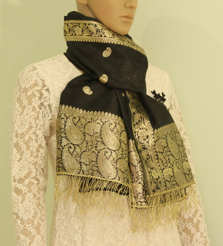 Pure silk scarf with zari - Pure silk with zari - style-art-villa