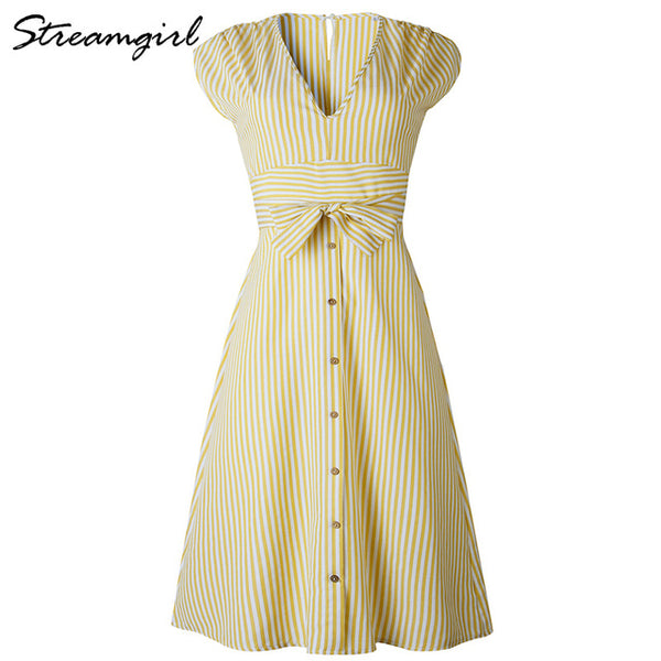 Striped Cotton Dress - Free shipping