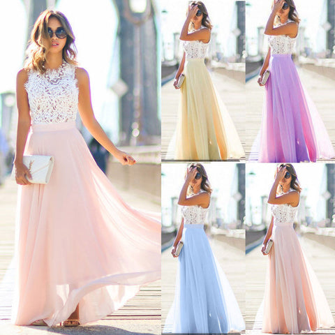 Women Lace Maxi Dress Sleeveless Evening Party Dress - Free shipping