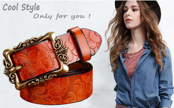 Genuine leather Fashion Belts Floral design - Free shipping (17-27 days)
