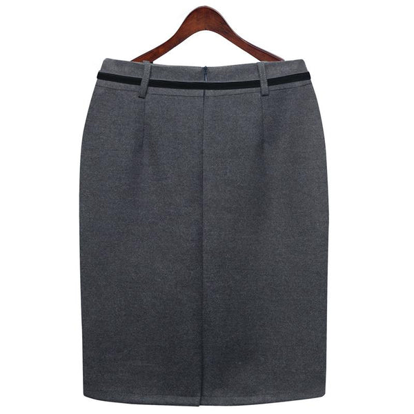 Autumn/Winter Skirt Women's Knee Length A-line Skirt With Free Belt - Free shipping (17-27 days) -  - style-art-villa