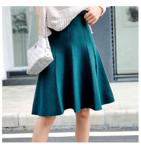Autumn Winter Knitted Skirt Women Midi High Waist - Free shipping (17-27 days) -  - style-art-villa