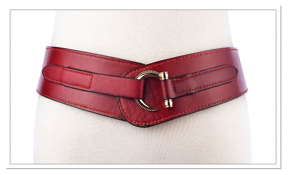 Wide Hasp Women Waist Leather Belt Elastic - Free shipping