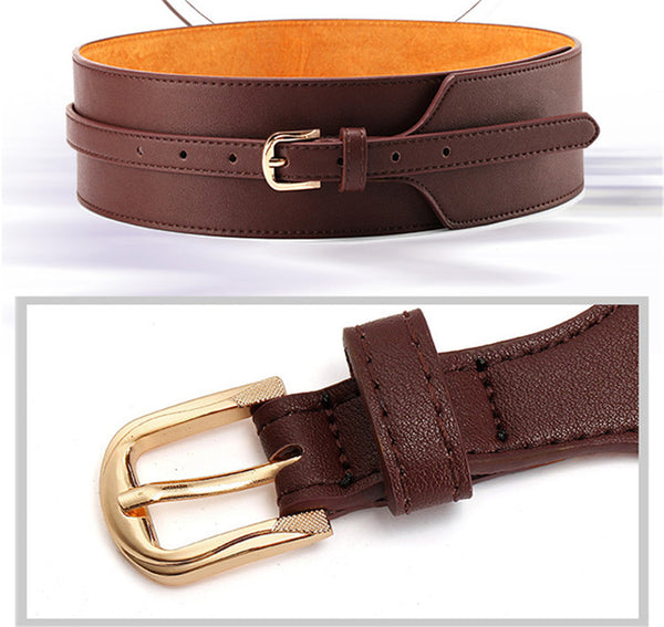 Fashion Leather Coat Wide Belt - Free Shipping ( 17-27 days)