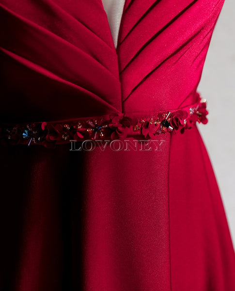 DEERVEADO Open Back Evening Dresses with Beading - Free shipping