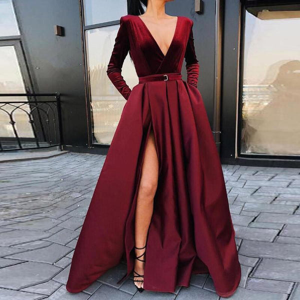 Evening Dress Long Sleeves Deep V-Neck - Free shipping