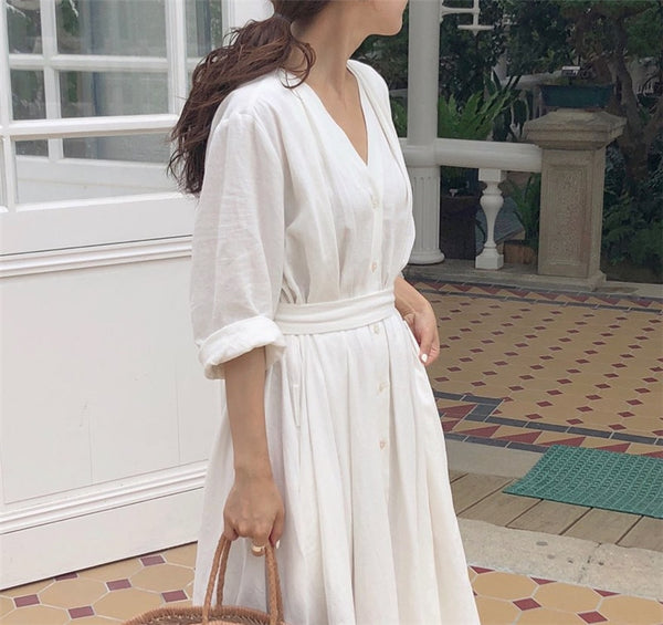 Cotton Pleated Dresses - Free shipping