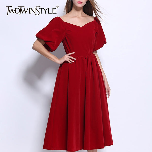 TWOTWINSTYLE Elegant Slash Neck Puff Sleeve Dress - Free shipping (17-27 days)