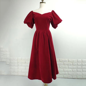 TWOTWINSTYLE Elegant Slash Neck Puff Sleeve Dress - Free shipping