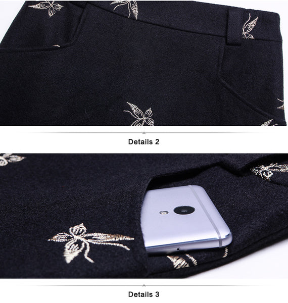 Wool Skirts Womens Butterfly Embroidery High Waist A-Line Skirt -Free shipping (17-27 days) -  - style-art-villa