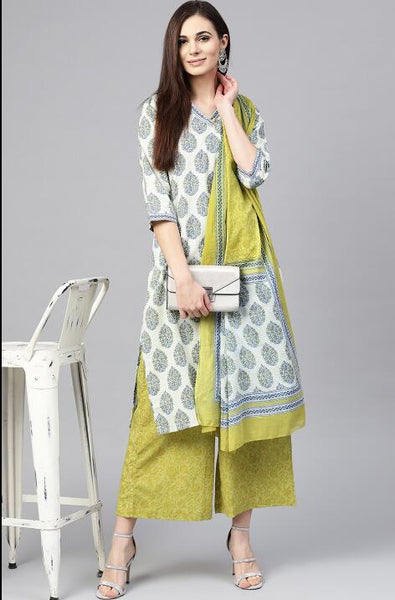 Ethnic Indian Printed Cotton Kurta with Dupatta - Free shipping
