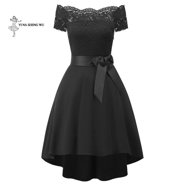 Off-shoulder Short sleeve Evening party dress - Free shipping