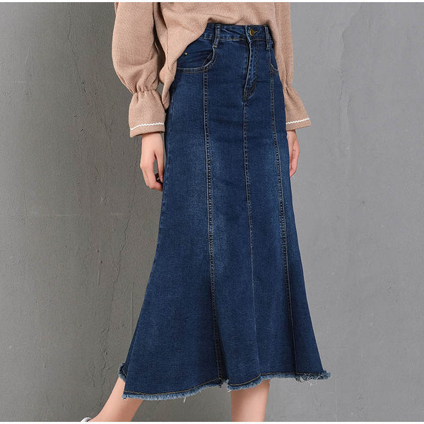 Tassel Patchwork Denim Long Skirts - Free shipping (17-27 days) -  - style-art-villa