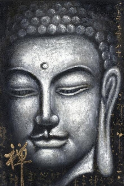 Chinese style Sliver Color Buddha Oil Painting Print On Cnavas