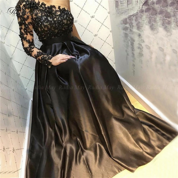 Elegant Black Satin Formal Evening Dress - Free shipping (17-27 days)