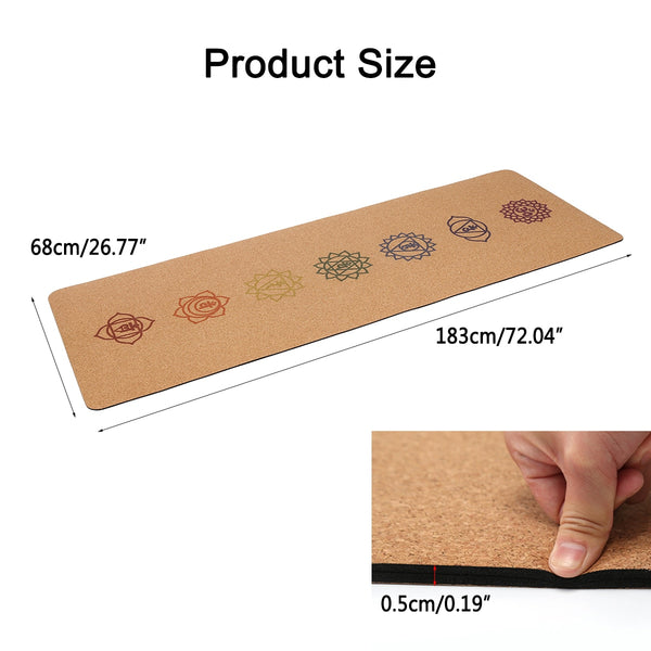 5MM Natural Cork TPE Gym Pad Pilates Exercise Training Mats 183X68cm Non-slip with Yoga Bag - Free shipping