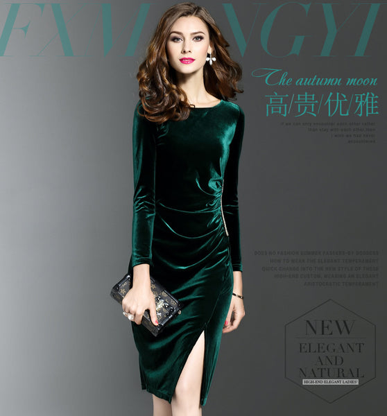 Velvet Dress Long Sleeve Knee-Length - Free shipping (17-27 days)