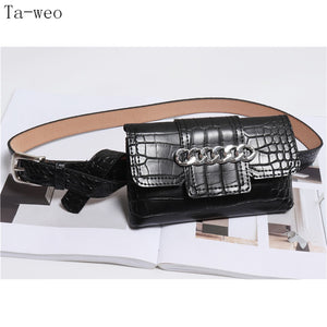 Ta-weo Fashion Women Wide Leather Belts With Waist Pack - Free shipping