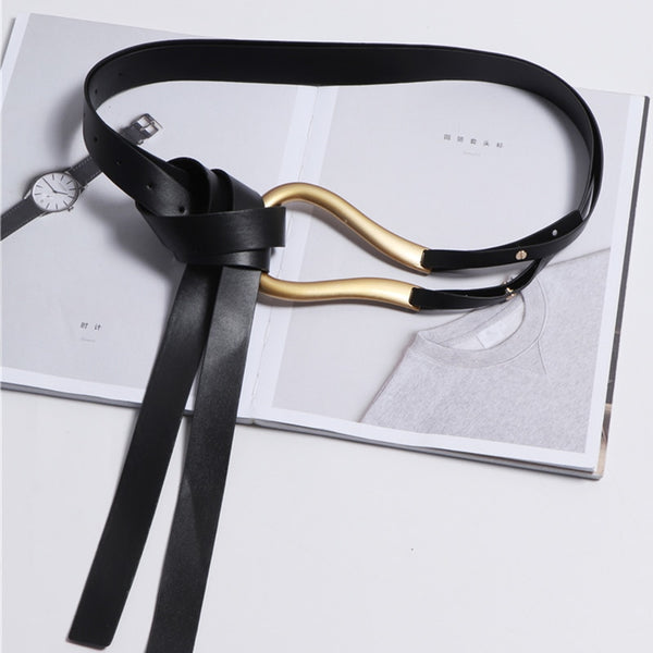 Luxury Designer Wide Black Leather ´Belt Gold Buckle - Free shipping