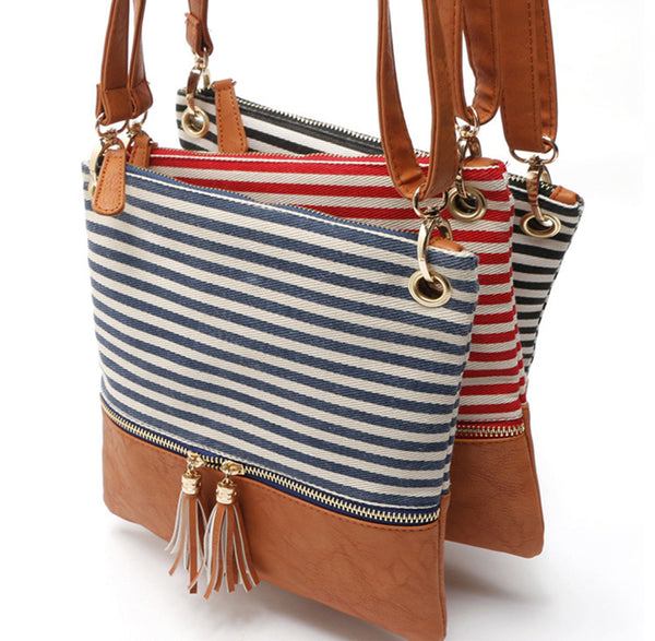 Yogodlns Patchwork Striped Shoulder Canvas Bags - Free shipping