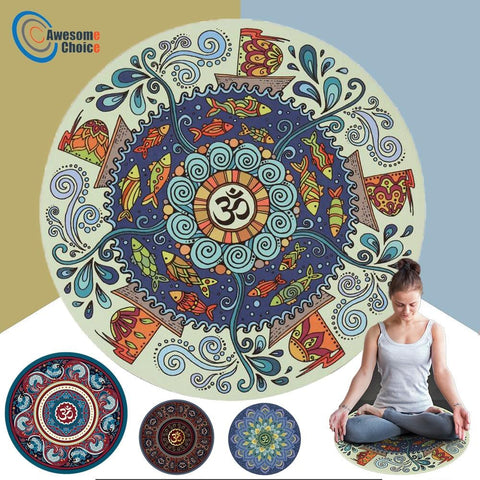 3mm Thick Round Non-slip Yoga/Meditation Mat with Zan Mark