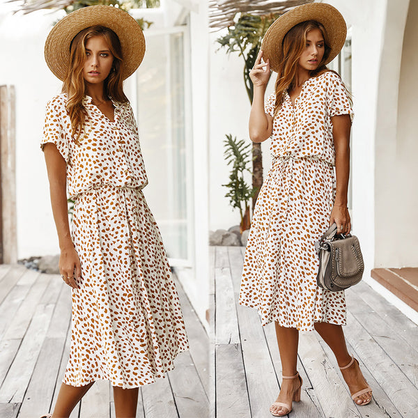 Jessie Vinson Dots Midi Cotton Dress - Free shipping