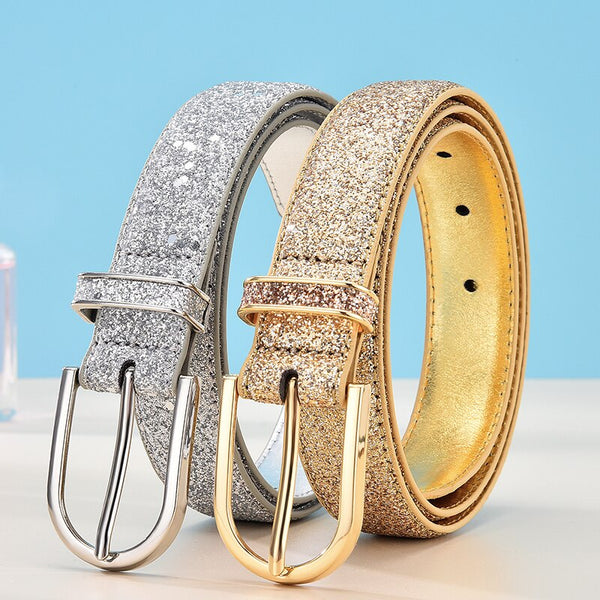 FKAVENPETER Fashion Glitter Gold/Silver Belt - Free shipping