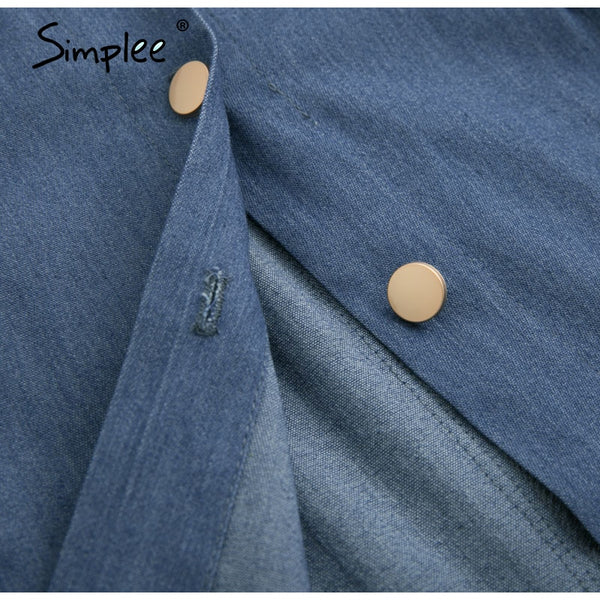 Simplee Denim Dress with Belt - Free shipping