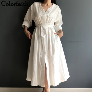 Cotton and Linen Elegant Pleated Long White Dresses - Free shipping