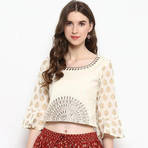India Ethnic Style Embroideried Cotton Top &/ Skirt - Free shipping