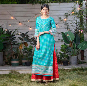 Ethnic Indian Styles Cotton Top & Trousers - Free shipping