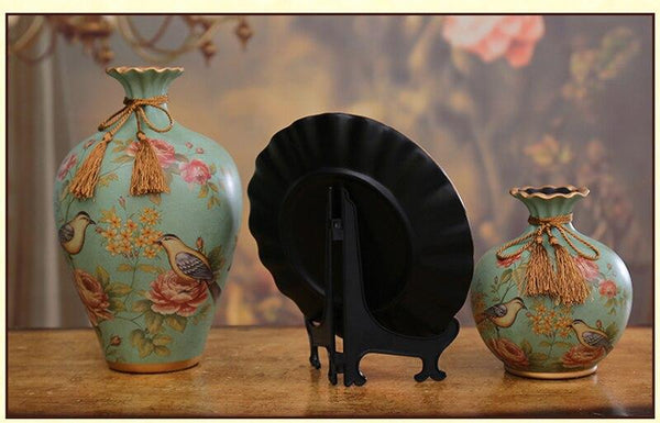 3pcs/Set high quality Hand painted Antique style Ceramic vase - Free shipping - Style Art Villa