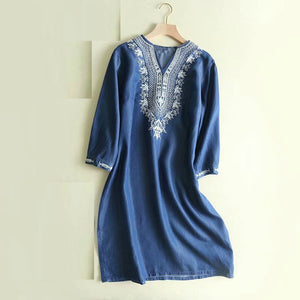 Ethnic Indian Embroidery Cotton Top/Kurta - Free shipping