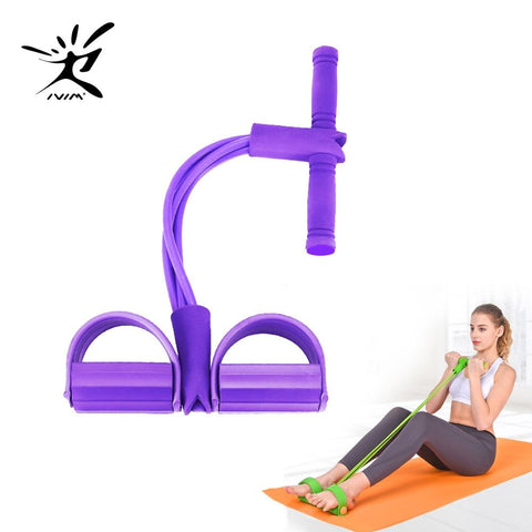 4 Tube Resistance Bands Latex Pedal Exerciser Sit-up /Pull Rope/ Yoga /Pilates Workout - Free shipping