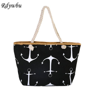 Rdywbu Large Capacity Printed Canvas Shopping Bag - Free shipping