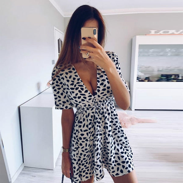 White Sand Spot Mini Dress - Free shipping