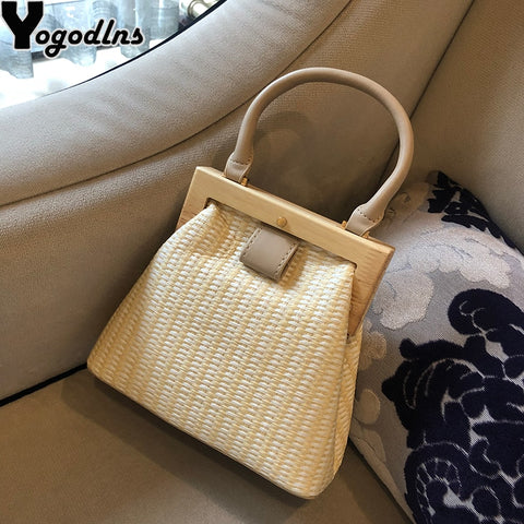 New Fashion Wooden Clip Straw Shoulder Bag - Free shipping