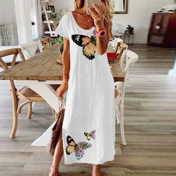 Elegant Butterfly Daisy Print Cotton Dress O Neck Short Sleeve - Free shipping