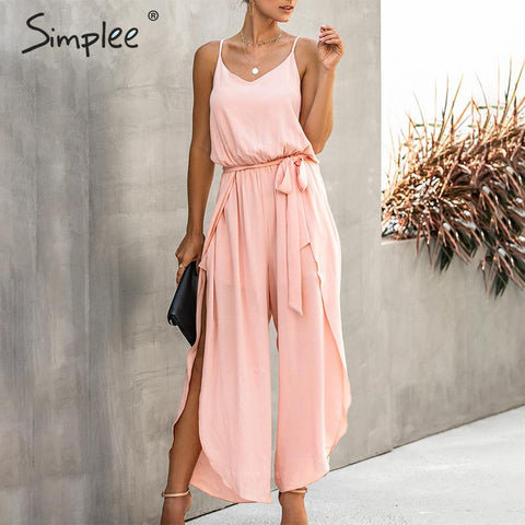 Simplee Elegant Sash belt Cotton Jumpsuit - Free shipping