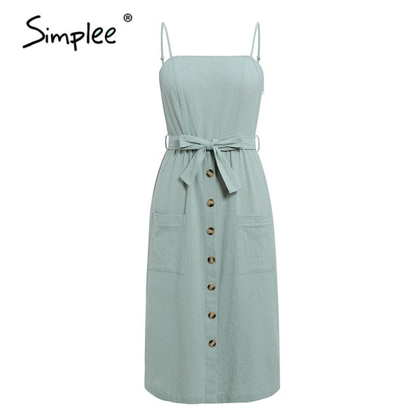 Simplee Elegant Cotton Midi Dress - Free shipping