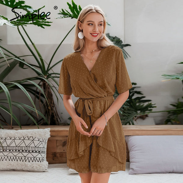 Simplee V-neck A-line Dress - Free shipping